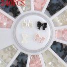 240PCS Beauty Black White 3D Bow Tie Wheel Acrylic Nail Art Glitter Decoration