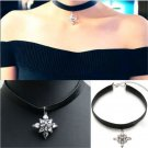 Cool Gothic Black Cord Choker Charm Retro Leather Pendant Bib Chain Necklace FT
