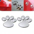 Silver 3D Car Window Bumper Body Decal Sticker Bear Cat Dog Paw Foot Prints