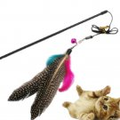 With Bell Kitten Play Interactive Fun Toy Cat Teaser Wand Pet Colorful Feather F