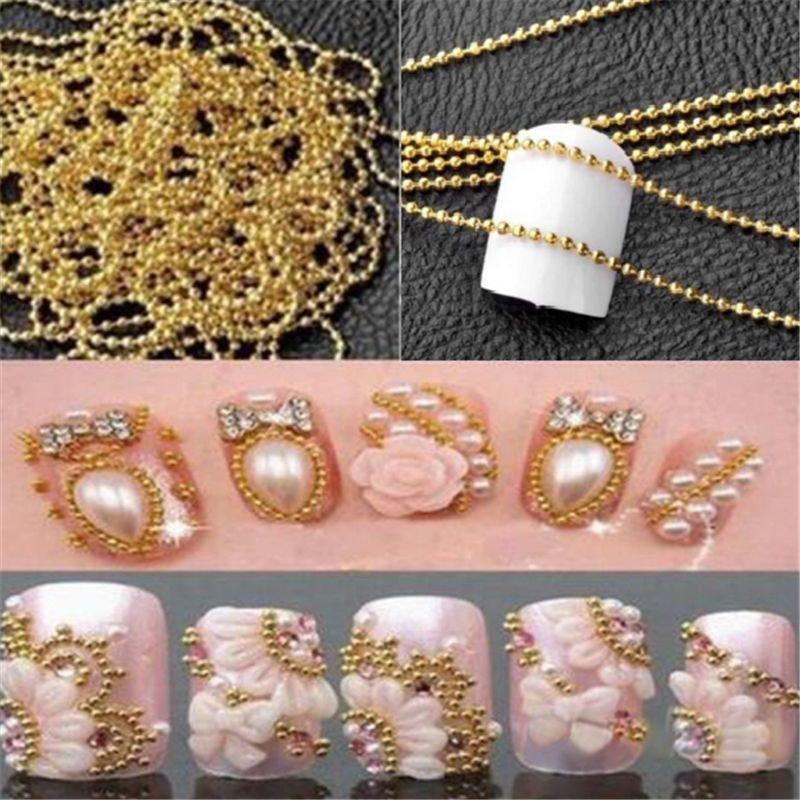 3m/9.8ft Golden Glitter Strip Tape Ball Beads Chain Decor 3D Nail Art Design Tip
