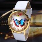 Fashion White Women's Watches Butterfly Leather Strap Analog Quartz Wrist Watch