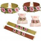 Boho Women Rose Flower Embroidery Neck Chain Choker Necklace Bib Band Collar FT