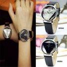 Stylish Women Men Leather Band Stainless Steel Sport Analog Quartz Wrist Watch F