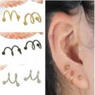 2PCS Cool Fashion Stainless Steel S Spiral Ear Stud Lip Nose Cartilage Ring FT88