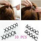 10pcs Helpful Cool Spiral Spin Screw Bobby Pin Black Hair Clip Twist Barrette FT