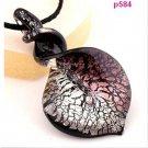 Charm Purple Chic Bicolor Knob Heart Lampwork Art Glass Bead Pendant Necklace FT