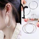 Simple Charm Women Silver Round Big Large Hoop Huggie Loop Dangle Earrings FT88