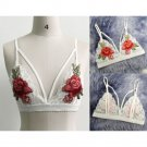 Women Charm Lace Floral Embroid Triangle Bralet Bustier Crop Top Unpadded Bra FT
