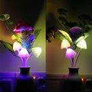 LED Night Light Romantic Flower Mushroom US Plug Sensor Lamp Decor Baby Bed Room