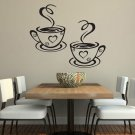 Trendy Coffee Cups Cafe Tea Wall Stickers Art Vinyl Decal Kitchen Home Black FT