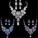 Wedding Bridal Prom Crystal Rhinestone Pendant Necklace Earrings Jewelry Sets FT