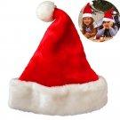 Cute Christmas Party Santa Hat Velvet Red Cap for Santa Claus Costume FT
