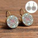 1 Pair Flower Vintage Women Alloy Glass Round Ear Stud Pierced Earrings Jewelry