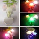 Lovely Color Changing LED Mushroom Night Light Bed Wall Lamp Illumination
