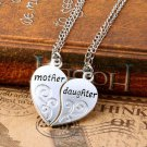 2PC/Set Sweet Silver Mother Daughter Flower Women Chain Pendant Necklace Gift FT