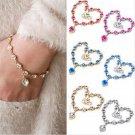Charm Rhinestone Heart Women Infinity Gold Silver Chain Crystal Bracelet Jewelry