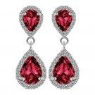 Women Charm Crystal Rhinestone Silver Drop Dangle Ear Stud Earrings Jewelry FT