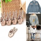 1PC 3D Peace Hand Iron On Patch Sew On Embroidered Applique Sewing Clothes DIY