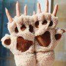 Soft Chic Warm Winter Women Paw Gloves Fingerless Fluffy Bear Cat Plush Paw Gift