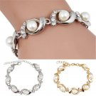 HOT Fashion Women Gold Silver Plated Jewelry Pearl Crystal Bangle Charm Bracelet
