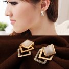 1 Pair Women Fashion Ear Stud Hollow Crystal Jewelry Gold Plated Earrings Gift