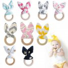 Fashion Wooden Natural Baby Teething Ring Chewie Teether Bunny Sensory Gift Toy