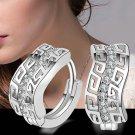 1 Pair Fashion Women's Silver Plated Crystal Rhinestone Ear Stud Dangle Earrings