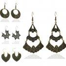 Retro Women Vintage Bronze Silver CHARM Long Earrings Drop Dangle Jewellery FT