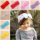 Lovely Girl Lace Bowknot Stretch Hairband Headband Turban Knot Head Wrap Decor F
