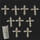 10PCS Cool 3D Crystal Cross Alloy Rhinestone Nail Art Slices DIY Decorations FT