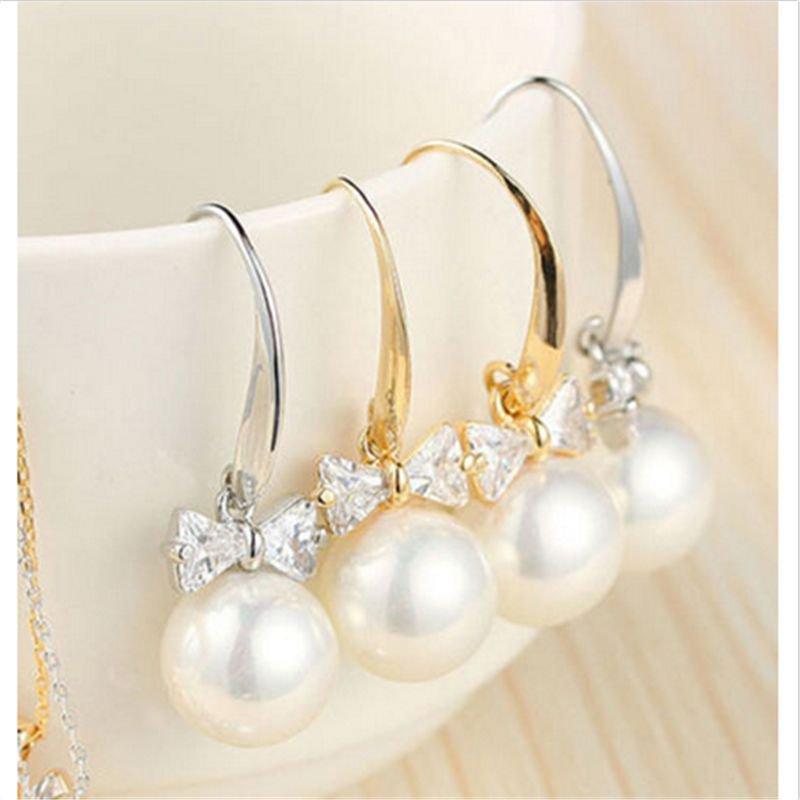 1 Pair Charm Women Lady Elegant Pearl Crystal Rhinestone Ear Stud Earrings Gift