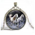 New Vintage Horse Cabochon Silver plated Glass Chain Pendant Necklace Gift FT