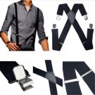 Adjustable Mens Black Elastic Suspenders Leather Braces X-Back Clip-on New FT