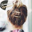 2PCS Gold Stylish Chic Scissors Shape Hair Clip Hair Pin Women Hair Accessory FT