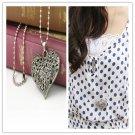 Silver Women Carved Flower Chain Pendant Elegant Heart Shape Vintage  Necklace