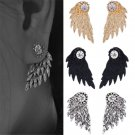 Gothic Punk Women's Angel Wings Rhinestone Crystal Ear Stud Earrings Jewelry FT