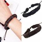 Fashion Men's Cool Charm Bangle Handmade Punk Braided Leather Bracelet Gift FT