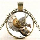 Fashion Vintage Steampunk Dragon Photo Cabochon Glass Bronze Pendant Necklace FT