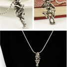 Cool Punk Embracing Skull Retro Fashion Lovers Silver pendant Necklace FT39 New