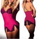 Sexy Women Rose Red Lingerie Dress Underwear Black Babydoll Sleepwear + G-string