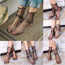 Sexy Women Glitter Mesh Ankle Socks Soft Elasticity Black Gauze Fishnet Socks FT