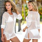 Sexy Women White Beach Shirt Swimwear Lace Crochet Bikini Cover Up Bathing Suit