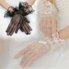Sexy Black Lace Short Bridal Full Gloves Formal Wedding Evening Party Pageant FT