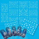 11Pcs White Snow Flower Christmas Water Transfer Decals Nail Art Stickers FT