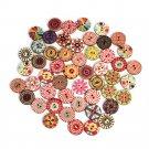 50Pcs DIY Flower Picture Wood Button 2 Holes Mixed Color Apparel Sewing 25CM FT