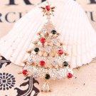 Fashion Xmas Tree Crystal Gold Plated Brooch Pin Jewelry Christmas Gift 1PCS
