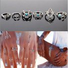 6PCS Fashion Women Turquoise Arrow Moon Statement Midi Rings Set Jewelry FT