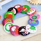 Christmas Button Badge Santa Claus Tree Boot Snowman Pins Umbrella Xmas Gift FT