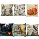 1PC Halloween Pillow Cases Linen Sofa Bedroom Office Cushion Cover Home Decor FT